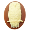 owl cameo, dark carnelain, owl, cameo, 40x30mm, carnelian, ivory, resin, owl sitting on branch, white owl, cameo jewelry, B'sue Boutiques, us made, jewelry making, jewelry findings, vintage supplies, jewelry supplies, 02179, owl jewelry,