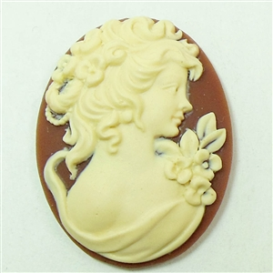 bohemian lady cameo, dark carnelian, cameo, lady cameo, bohemian, ivory, resin, 40x30mm, carnelian, cameo lady, cameo jewelry, bohemian jewelry, B'sue Boutiques, us made, jewelry findings, vintage supplies, jewelry supplies, jewelry making, 02188