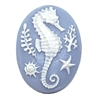 cameo, seahorse, white/blue, 40 x 30mm, beach jewelry, seahorse cameos, jewelry making supplies, imported resin cameo, sea shells, sea shell cameos, jewelry making, bsueboutiques, 02189