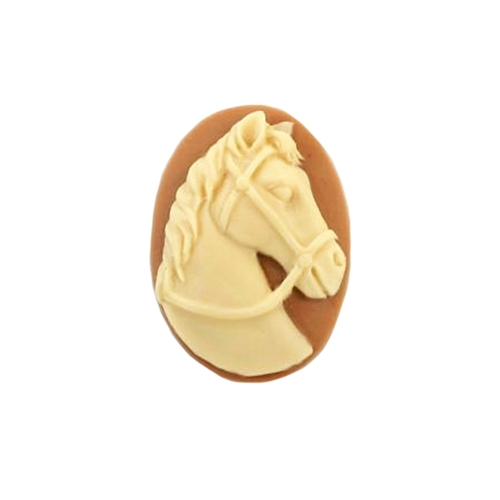 cameo, horse, cream/tan, 25 x 18mm