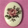 desert rose cameo, porcelain, pink, cameo, 18x13mm, decal, german decal, yellow base, rose cameo, green leafs, vintage glass, flatback, us made, B'sue Boutiques, vintage supplies, jewelry supplies, jewelry findings, vintage cameo, jewelry making, 03156