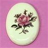 desert rose cameo, porcelain, pink, cameo, 40x30mm, decal, german decal, yellow base, rose cameo, green leafs, vintage glass, flatback, us made, B'sue Boutiques, vintage supplies, jewelry supplies, jewelry findings, vintage cameo, jewelry making, 03157