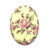 desert rose floral pattern cameo, porcelain, pink, cameo, 40x30mm, decal, german decal, yellow base, rose cameo, green leafs, vintage glass, flatback, B'sue Boutiques, vintage supplies, jewelry supplies, jewelry findings,vintage cameo,jewelry making,03158