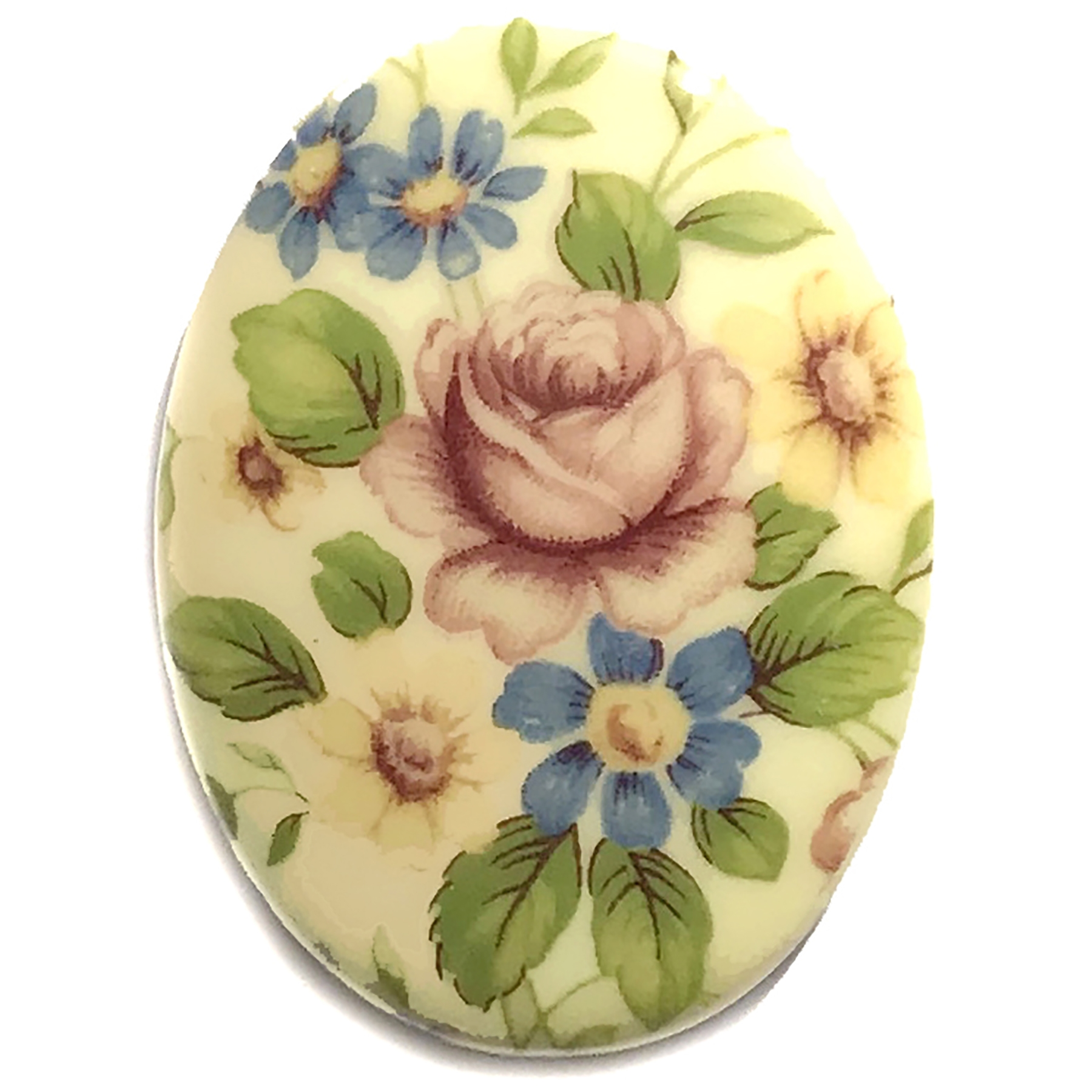 vintage floral cameo, plastic, pink, blue, yellow, cameo, 40x30mm, decal, german decal, yellow base, flower cameo, green leafs, flatback, B'sue Boutiques, vintage supplies, jewelry supplies, jewelry findings, vintage cameo, jewelry making, 03159