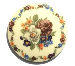 vintage floral bouquet cameo, plastic, cameo, blue, white, orange, 53mm, decal, German decal, yellow base,floral cameo, green leafs, flatback, B'sue Boutiques, vintage supplies, jewelry supplies, jewelry findings, vintage cameo, jewelry making, 03160