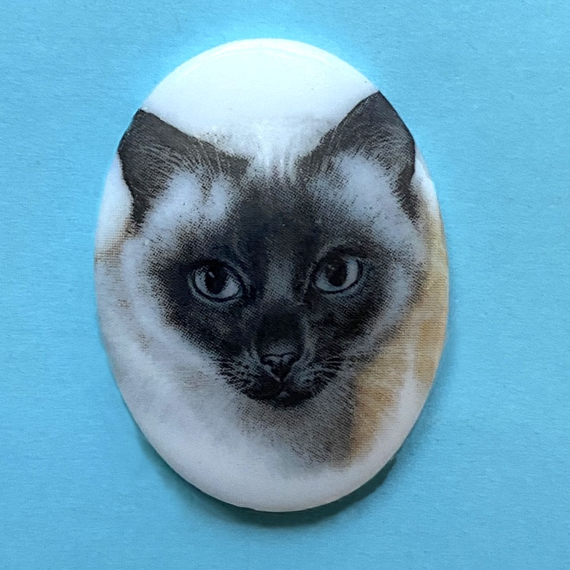 cat cameo, 40x30mm, 03206, cameos, portrait cameo, cats, kitty, kitties, porcelain cameo, decal cameo, B'sue Boutiques, jewelry supplies