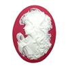 lady cameo, white over red, 03216, woman cameo, portrait cameo, resin, resin cabochon, carved cabochon, carved cameo, jewelry supplies, 40x30