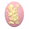 fairy, magnolia, cameo, fairy, pink, 40x30mm, sitting fairy, resin, cameo fairy, magnolia blossom, lady fairy, lady, victorian style, fairy cameo, B'sue boutiques, jewelry making, jewelry findings, vintage supplies, 03217
