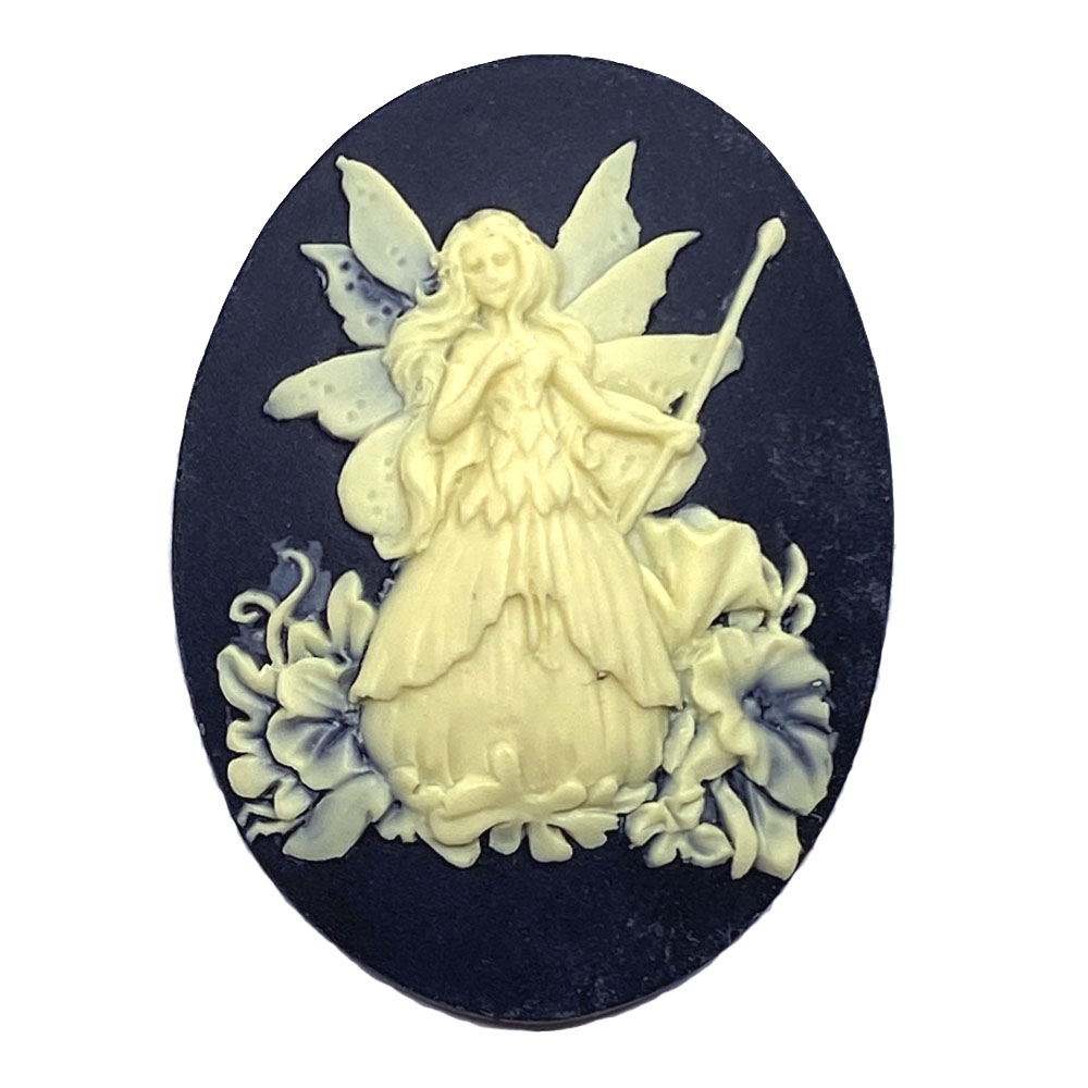 fairy, cameo, ivory over black, 03218, fairy cameo, cameos, black cameo, carved cameo, 40x30, cabochon, resin cameo, resin cabochon, jewelry supplies, B'sue Boutiques