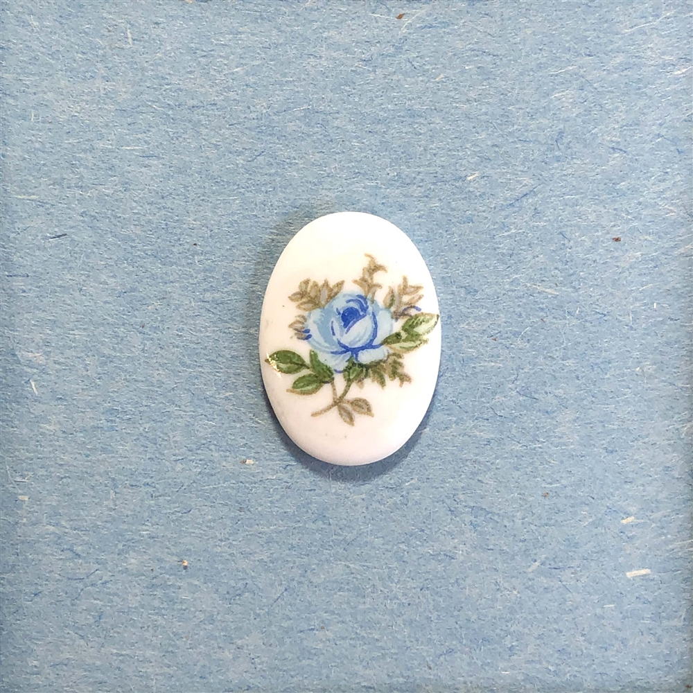 cameo, porcelain, blue rose, 18 x 13mm
