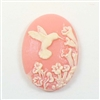 cameos, hummingbird, pink, 25 x 18mm