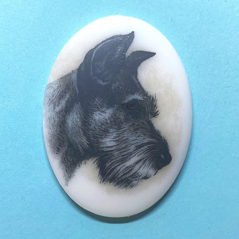 dog cameo, 40x30mm, 03372, cameos, portrait cameo, dogs, porcelain cameo, decal cameo, B'sue Boutiques, jewelry supplies, German decal cameo, pets, Scottish Terrier