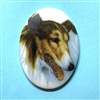 dog cameo, 40x30mm, 03373, cameos, portrait cameo, dogs, porcelain cameo, decal cameo, B'sue Boutiques, jewelry supplies, German decal cameo, pets, Collie