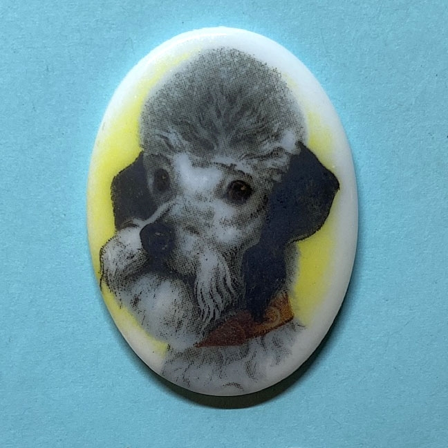 dog cameo, 40x30mm, 03375, cameos, portrait cameo, dogs, porcelain cameo, decal cameo, B'sue Boutiques, jewelry supplies, German decal cameo, pets, Poodle