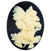 cameo, fairy cameo, ivory and black, 40x30mm, B'sue Boutiques, cameo, fairy jewelry, jewelry making, jewelry supplies, vintage supplies, jewelry findings, fairy smelling flowers, fairy sprite, imported resin cameo, young fairy cameo, 03448