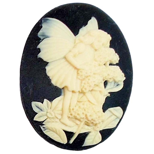 cameo, fairy cameo, cream and black, 40 x 30mm,03448, B'sue Boutiques, cameo, fairy jewelry making supplies, vintage jewelry supplies, dragonfly jewelry, jewelry findings,