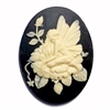 cameo, fairy cameo, cream and black, 40 x 30mm,03450, B'sue Boutiques, cameo, fairy jewelry making supplies, vintage jewelry supplies, dragonfly jewelry, jewelry findings,