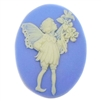 cameo, fairy cameo, white and blue, 40 x 30mm,03452 B'sue Boutiques, cameo, fairy jewelry making supplies, vintage jewelry supplies, fairy jewelry, jewelry findings,