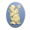 Wedgewood blue fairy, magnolia, cameo, fairy, creme, 40x30mm, sitting fairy, resin, cameo fairy, magnolia blossom, lady fairy, lady, victorian style, blue, B'sue boutiques, jewelry making, jewelry findings, vintage supplies, 04027