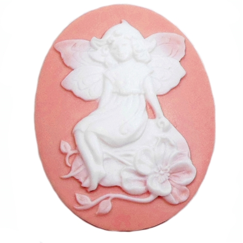 Fairy Cameo, sprite, cameo, 04041, carved cameo, resin, resin cameo, jewelry supplies, jewelry making, B'sue Boutiques, 40x30mm, flat back, fairy