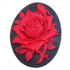 rose flower cameo, red over black, imported resign, resign, rose, oval, flower, rose flower, cameo, Spanish red rose, red rose, 40x30mm, black, red, cameo jewelry, jewelry making, jewelry findings, jewelry supplies, vintage supplies, B'sue Boutiques,04047