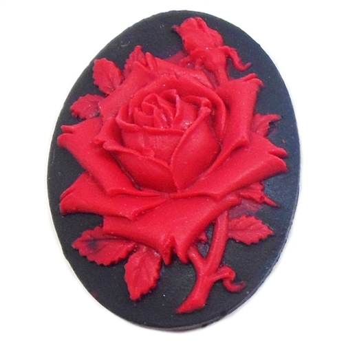spanish red rose cameo, red, cameo, rose, red rose, red rose on black, resin, 40x30mm, red cameo, flat back, B'sue Boutiques, jewelry findings, vintage supplies, jewelry making, jewelry supplies, cameo jewelry, black, 04047, spanish cameo, raised rose,