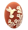 hummingbird cameo, ivory over dark cornelian, cameo, bird, flowers, floral, resin, oval, dark cornelian, ivory, hummingbird, 25x18mm, jewelry making, jewelry findings, cameo jewelry, vintage supplies, jewelry supplies, us made, B'sue Boutiques, 04158