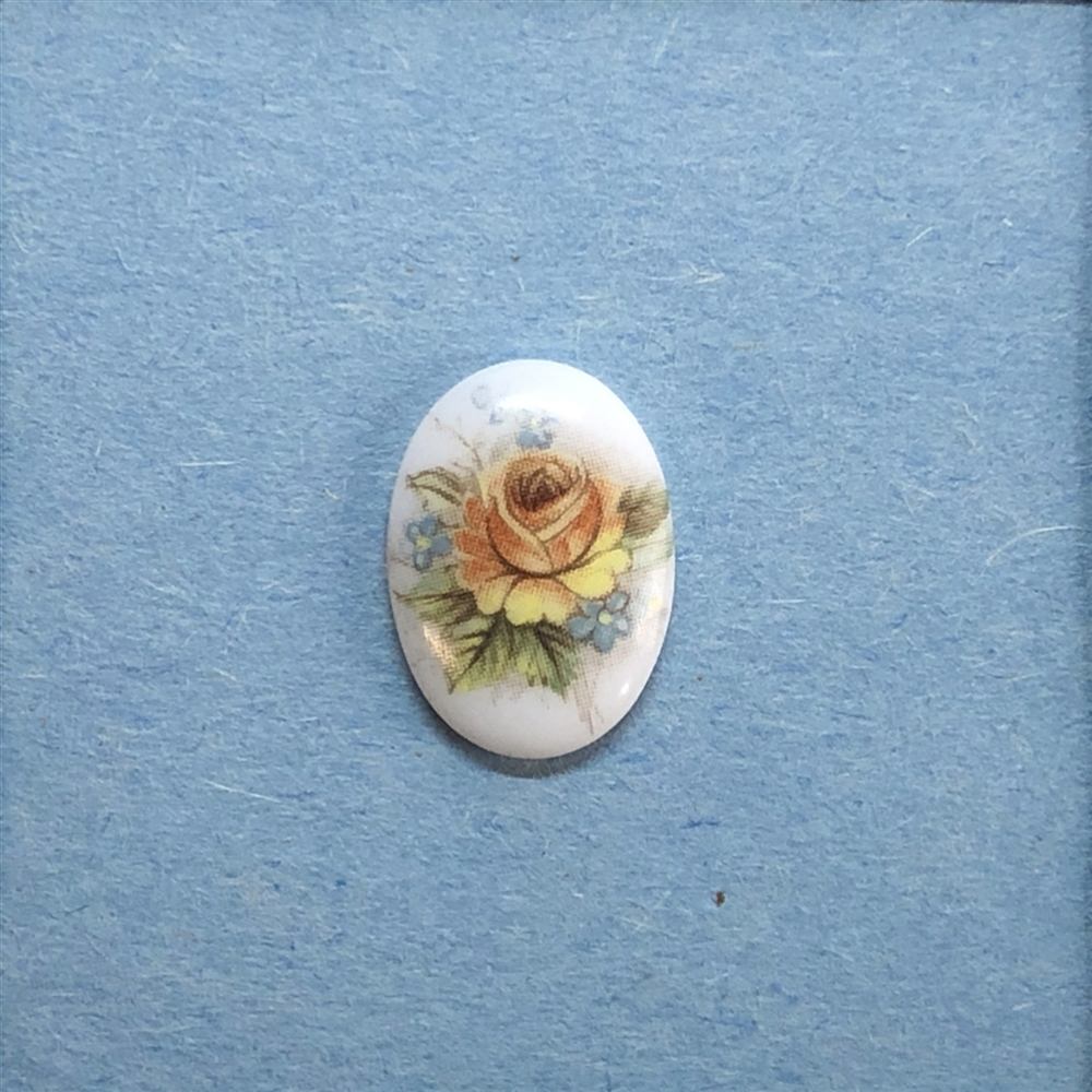 vintage floral cameo, German decal cameos, porcelain rose cameo, 18x13mm, decal, German decal, flower cameo, green leafs, flat back, B'sue Boutiques, vintage supplies, jewelry supplies, jewelry findings, vintage cameo, jewelry making, 04161