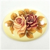 cameo, porcelain, rose cluster, peach, 40 x 30mm