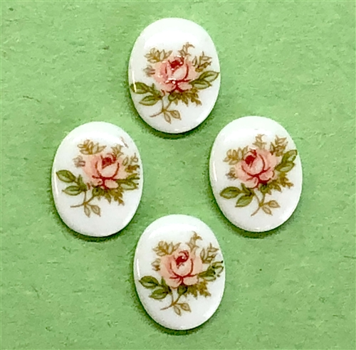 cameo, porcelain, pink rose, 10 x 8mm, floral cameos, vintage jewelry supplies, jewelry making supplies, 04349, Made in Germany, porcelain cameos, blue rose cameo, Bsue Boutiques,
