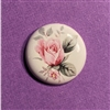 Vintage Cameo, Pink Rose Decal, 04496, 25mm, round, roses, cabochon, porcelain cameo, bisque, ceramic cameo, B'sue Boutiques, jewelry making, jewelry supplies