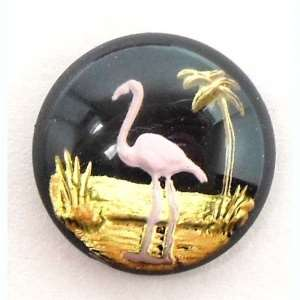 flamingo cabochon, tropical bird jewelry, 04638, B'sue Boutiques, reverse paint cabochons, bird jewelry, vintage jewellery supplies, jewelry making supplies, pink flamingos, beach jewelry