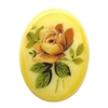 floral porcelain cameo, German porcelain, 40 x 30mm, 04973, peach rose, cameos, golden yellow porcelain, German Cameo, hand applied decal, B'sue Boutiques, jewelry supplies