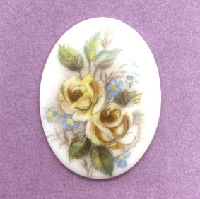 floral porcelain cameo, German porcelain, 40 x 30mm, 04975, yellow roses, cameos, white porcelain, German Cameo, hand applied decal, B'sue Boutiques, jewelry supplies