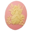 Cameo, Fairy, Ivory over Peachy Pink , 40 x 30mm