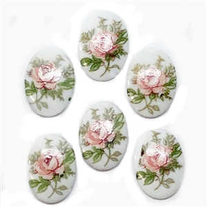 rose decal cameo, porcelain, cameo, pink rose, 14x10mm, floral cameos, vintage supplies, jewelry making, jewelry supplies, Made in Germany, porcelain cameos, pink rose cameo, B'sue Boutiques, pink over white, green leaf accents, pink rose flower, 05189