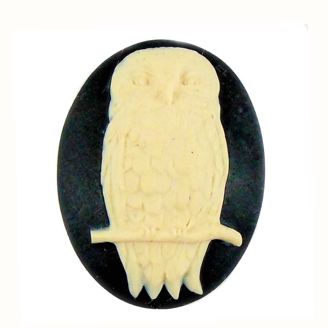 cameo, owl cameo, resin, jewelry making, 40x30mm, 05367, black/creme cameo, owl jewelry, jewelry making supplies, vintage jewelry supplies, imported resin, bsueboutiques