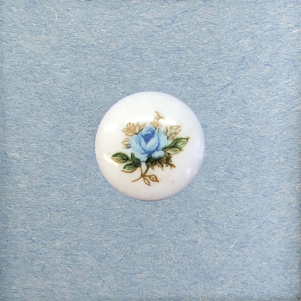 rose decal cameo, blue, cameo, rose, porcelain, 18mm, made in Germany, decal, rose cameo, flower cameo, flat back, B'sue Boutiques, jewelry findings, vintage supplies, jewelry making, jewelry supplies, cameo jewelry, 05374, blue cameo, German decal,
