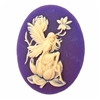 Purple fairy, magnolia, cameo, fairy, purple, ivory, 40x30mm, sitting fairy, resin, cameo fairy, magnolia blossom, lady fairy, lady, victorian style, dark purple, plum, B'sue boutiques, jewelry making, jewelry findings, vintage supplies, 05420