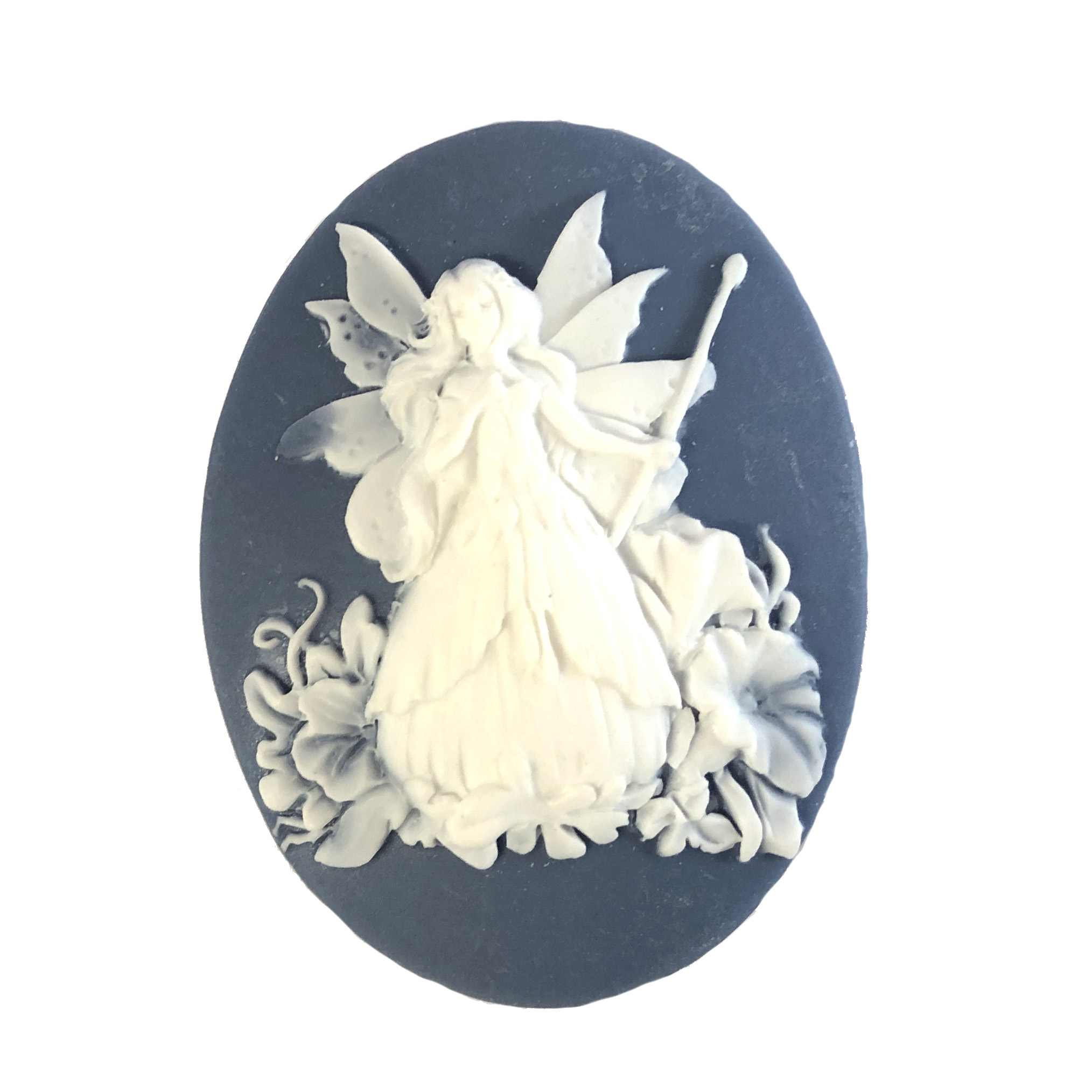 Cameo, Fairy, White over Wedgewood Blue, 40 x 30mm