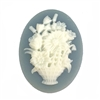 cameo, resin jewelry, jewelry making, 40 x 30mm,05537, floral basket cameo, wicker basket, jewelry making supplies, jewelry making, vintage jewelry supplies, basket cameos, wedgewood blue