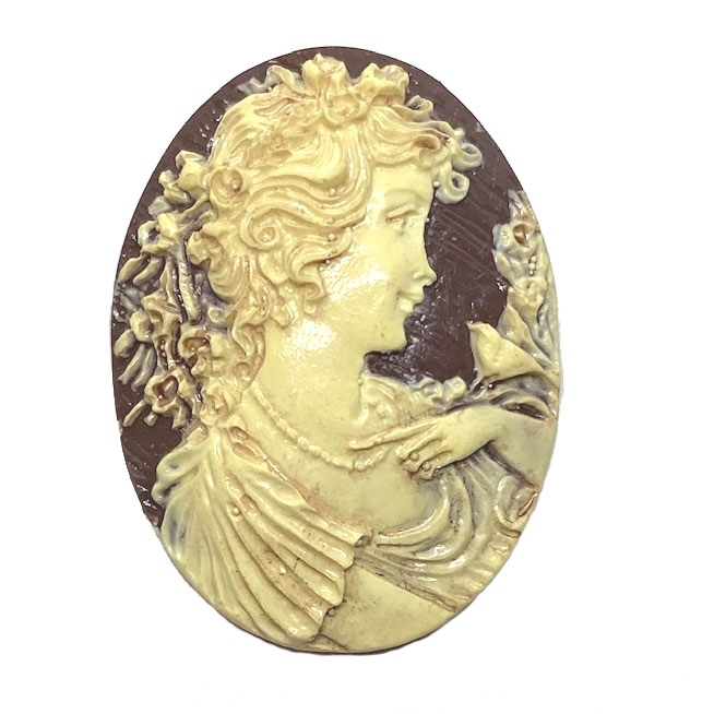 lady cameo, brown and ivory, 06061, woman cameo, portrait cameo,  resin, resin cabochon, carved cabochon, carved cameo, jewelry supplies, 40x30