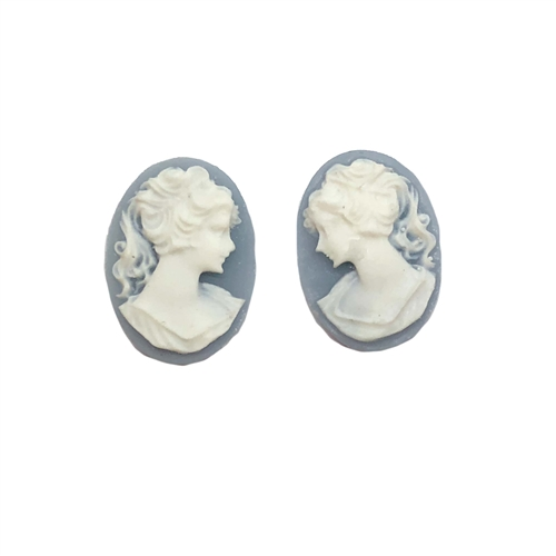 lady cameo, white over wedgewood blue, 18x13mm, 06073, B'sue Boutiques, cameo, vintage jewelry supplies,  jewelry findings, jewelry making supplies, vintage jewelry supplies, right and left cameos, Victorian style jewelry supplies