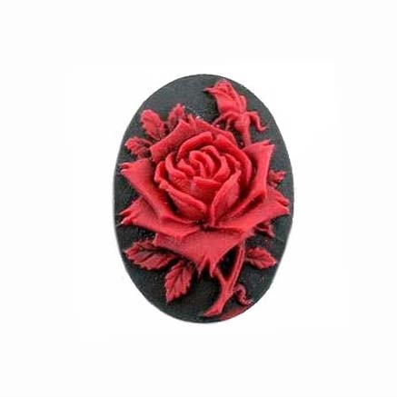 rose flower cameo, red over black, imported resign, resign, rose, oval, flower, rose flower, cameo, Spanish red rose, red rose, 18x13mm, black, red, cameo jewelry, jewelry making, jewelry findings, jewelry supplies, vintage supplies, B'sue Boutiques, 062