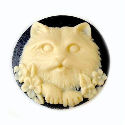 Cat Cameo, Imported Resin, Ivory, Black, 064, vintage jewelry supplies, resin cameos, 25mm cameos, kitty cat cameos, jewelry making supplies, flat back cameos, US made, Bsue Boutiques
