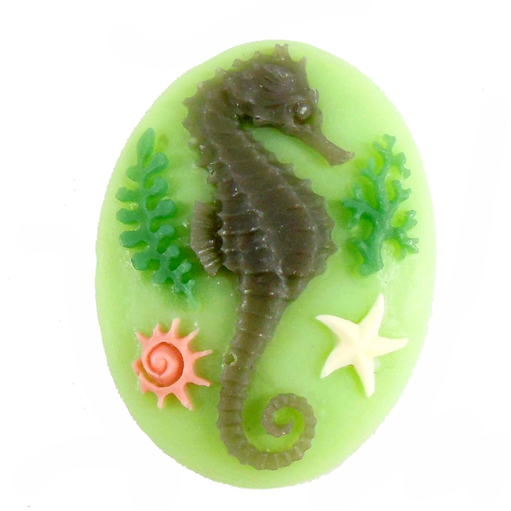 cameos, seahorse cameos, 06547, mint green, 40x30mm, jewelry making supplies, vintage jewelry supplies, jewelry making, imported resin, bsueboutiques, ocean jewelry, beach jewelry, jewelry findings
