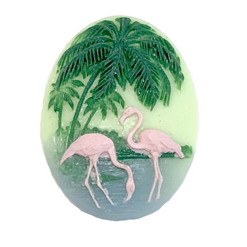 cameo, flamingo, jewelry making, 40x30mm