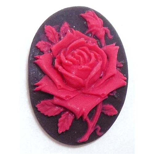 rose flower cameo, red over black, imported resign, resign, rose, oval, flower, rose flower, cameo, Spanish red rose, red rose, 25x18mm, black, red, cameo jewelry, jewelry making, jewelry findings, jewelry supplies, vintage supplies, B'sue Boutiques,06679