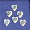 heart cameo, porcelain, blue, rose decal, 11.5/10mm, blue hearts, flat back hearts, heart cameos, blue rose hearts, blue rose cameos, jewelry making supplies, vintage jewelry supplies