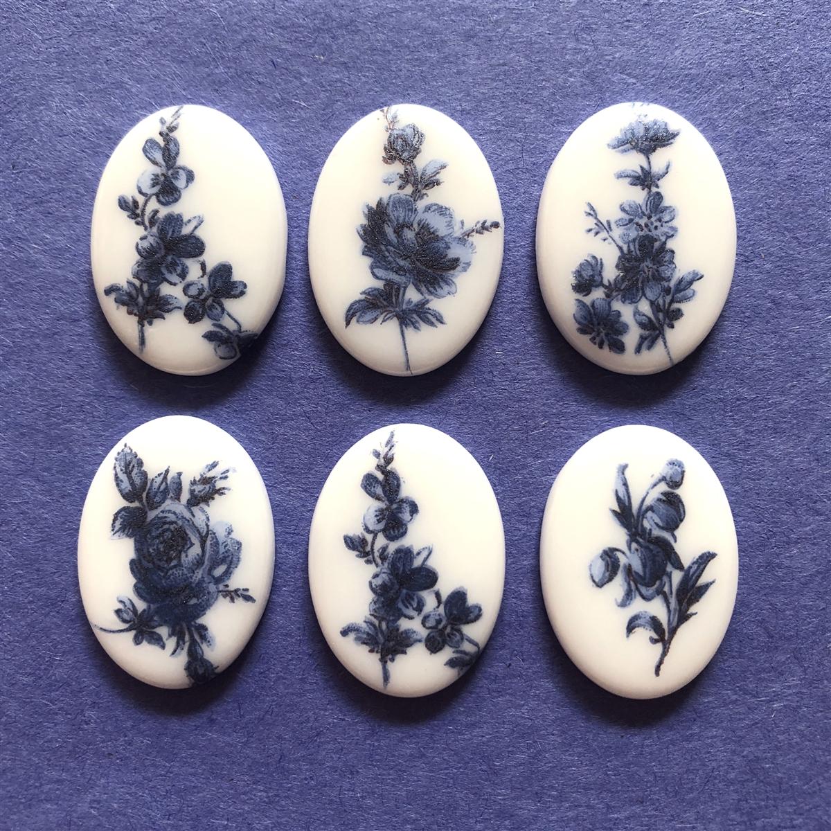 Porcelain Cameos Blue And White 07253 Floral Cameos Cameo Blue